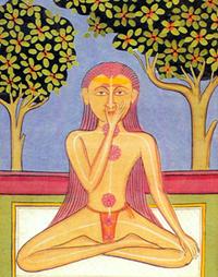 Um yogi praticando nadi sodhana pranayama