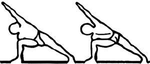Utthita parshvakonasana e parivrita parshvakonasana, em desenho por John Scott