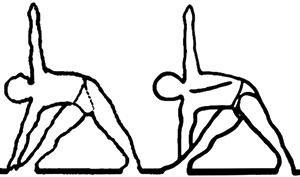 Utthita trikonasana e parivrita trikonasana, em desenho por John Scott