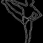 Utthita hasta padangusthasana, em desenho por John Scott