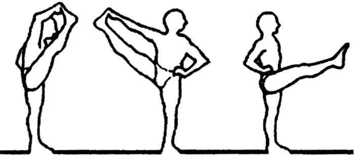 Utthita hasta padangusthasana A, B e C, em desenho por John Scott