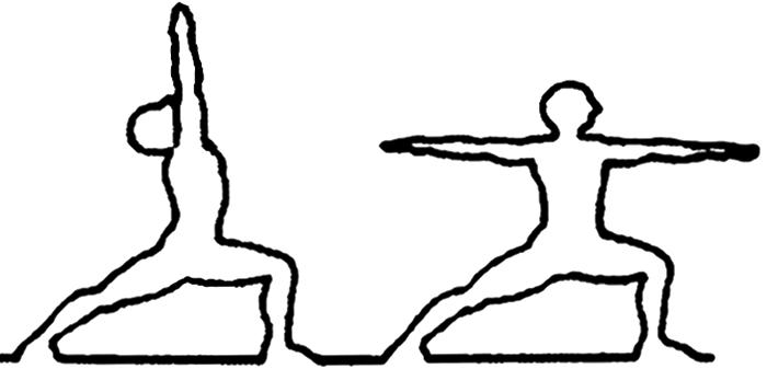 Virabhadrasana A e B, em desenhos por John Scott
