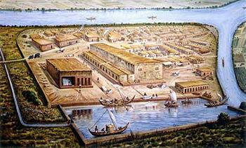 Porto em Lothal, uma das mais conhecidas cidades da antiga civilização do vale do rio Indus