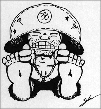 Paschimottanasana nordestino, desenho de Maurício Salém