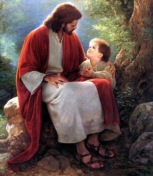 Jesus conversando com uma criança