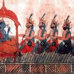 Sri Krishna e os cinco irmãos Pandavas, personagens do épico indiano Mahabharata