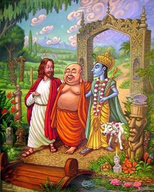 Jesus conversando com Buddha e Krishna
