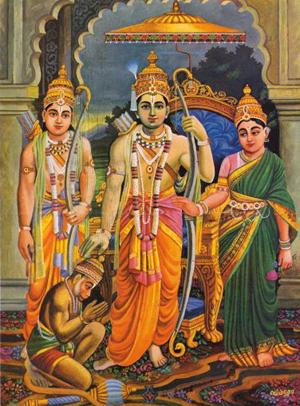 Lakshman, Hanuman, Rama e Sita, personagens do épico indiano Ramayana