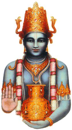 Dhanvantari, o deus hindu da medicina, é um avatar de Vishnu, o preservador