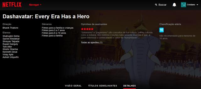 Dashavatar: every era has a hero (2008), filme épico musical de animação indiano disponível na Netflix