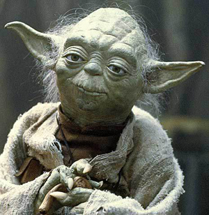 Mestre Yoda, personagem fictício no universo de Star Wars, criado por George Lucas