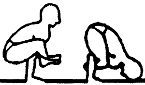 Bhujapidasana, a postura da pressão sobre os braços, em desenho por John Scott