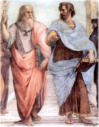 Platão e Aristóteles, em detalhe do quadro A Escola de Atenas, de Raffaello Sanzio