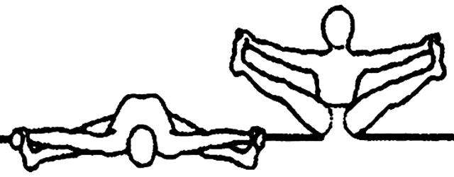 Upavishtha konasana, a postura do ângulo sentado, em desenho por John Scott