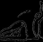 Urdhva mukha paschimottanasana, a postura de alongamento para frente olhando para cima, em desenho por John Scott