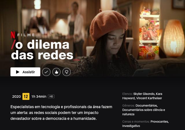 O dilema das Redes Sociais, filme documentário na Netflix